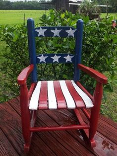 American flag rocking chair - Home Decor Americana Crafts, Patriotic Crafts, July Crafts, Fourth Of July Decor, 4th Of July Decorations, July 4th, Hand Painted Chairs, Painted Furniture, Painted Rocking Chairs