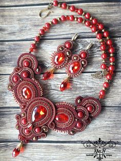 Items similar to Soutache necklace with earrings on Etsy Ribbon Jewelry, I Love Jewelry, Beaded Jewelry, Jewelry Making, Soutache Necklace, Necklace Set, Earrings, Shibori, Polymer Clay Charms