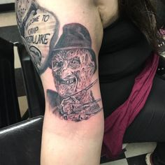Photo by (bfirst_apparel405) on Instagram | #Tattoo #tattoos #tattooed #ink #empiretattoo #tuc #tucson #tucsonaz #tucsontattoo #tucsonarizona #blackandgreytattoo #blackandgrey #freddy #freddykrueger #art #horror Empire Tattoo, Horror Tattoos, Tucson Arizona, Freddy Krueger, Black And Grey Tattoos, Skull, Ink, Instagram, Freddy Krueger Mask