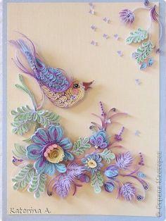 Pictura murala Desen Felicitare de Aplicare Quilling Numele purtate anterior cântând pasăre a Paradisului Pe Petrikovskaya pictura Banda Har...
