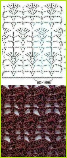 Discover thousands of images about Crochet Lace stitch Nr 2006 ~~ MyPicot Gilet Crochet, Crochet Lace Edging, Crochet Diy, Crochet Stitches Chart, Crochet Diagram, Stitch Patterns, Knitting Patterns, Crochet Patterns, Confection Au Crochet