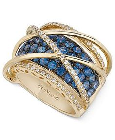 Le Vian 14k Gold Ring, Sapphire (2-1/2 ct. t.w.) and Diamond (1/3 ct. t.w.) Orbital Ring - Rings - Jewelry & Watches - Macy's