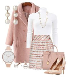 """Tweed Skirt"" by kimberlyn303 ❤ liked on Polyvore featuring Michael Kors, Olivia Burton, Boutique Moschino, Yves Saint Laurent, Salvatore Ferragamo and tweed"
