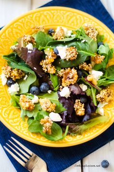 Mixed Green Salad with Blueberries and Maple Nut Quinoa Clusters