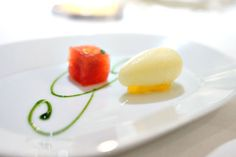 YELLOW WATERMELON SORBET | Basil-Honey and Saba Vinegar Serving as a sort of palate cleanser, a watermelon sorbet conveyed the pure, unmitigated quintessence of the fruit, while the saba (grape must syrup) contributed a deep, viscous counterpoint of syrup-y, savory-sweet goodness.