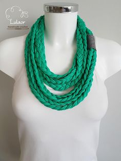 Check out this item in my Etsy shop https://www.etsy.com/il-en/listing/519684216/t-shirt-scarf-t-shirt-necklace-braided