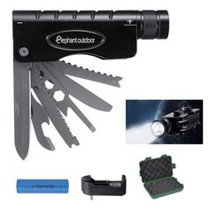 Multitool Flashlight - Elephant Outdoor 10 In 1 Camping Survival Gear with 5 Modes Super Bright 1000 Lumens Cree R5 LED, Knife, Saw, Bottle Opener, Spanner and Screw Driver, Great Aluminum Streamlight * Remarkable outdoor item available now. : Camping gear