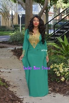 4c220ef6a91 2016 New Ankara Style Emerald Evening Dresses With Gold Sequined Long  Sleeves Morrocan Dubai African Kaftan