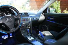 custom interior - black n blue Mazda 3 Sedan, Mazda 3 Hatchback, Mazda Mazda3, Mazda 6, Mazda 3 2007, Discount Interior Doors, Interior Wall Colors, Interior Design Classes, Mazda Cars