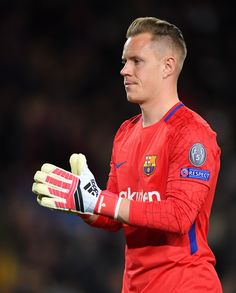 ter Stegen of Barcelona in action during the quarter final first leg UEFA Champions League match between FC Barcelona and AS Roma at Camp Nou on April 2018 in Barcelona, Spain. Germany Football Team, Football Players, Barcelona Team, Barcelona Spain, Ronaldo Wallpapers, Marc Andre, As Roma, Camp Nou, Professional Football