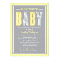 Stylish and contemporary baby shower invitations feature mixed typography with bold lettering in gender neutral shades - perfect for a boy or girl - of lemon yellow, sunshine yellow and silver against a gray background. Stripe and polka dot pattern accents. #timelesstreasure