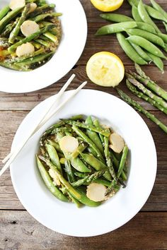 Spring Vegetable Stir Fry with Lemon Ginger Sauce Recipe on http://twopeasandtheirpod.com. Love this simple and healthy stir fry! #glutenfree #vegan