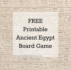FREE printable Ancient Egypt Game #homeschool #game