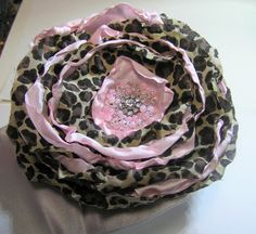 FABRIC ROSE flower  BROOCH  hair clip hand made by rankaswedding