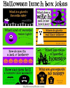 Free Halloween lunchbox jokes printable. Just print these out and throw them in…