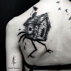 Baba yaga by Smolll tattooer (@ smollltattooer) #tattoo #tatouage #art #blackwork #blackworkers #blackworker #lyon #france #ink #blxckink #black #blackhorns #dark #tatuaje #occult #onlyblackart #blackart #blacktattoo #tttisme #darkartist #tattoos #tatouages #tattoo #space #house #flashaddicted #flashtattoo