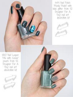 Glitter nails, caviar nails