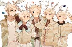 Hetalia - Nordics 5: Sweden, Finland, Denmark, Norway, Iceland w/ horns (too)?!