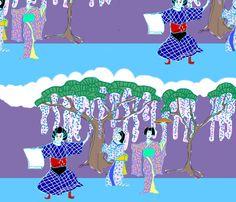 Kabuki Stage Color fabric by katawampus on Spoonflower - custom fabric