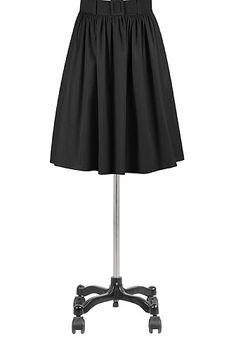Belted poplin skirt
