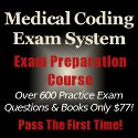 The Medical Coding Exam System includes over 600 practice exam questions plus the course books. - http://mcexamsystem.com