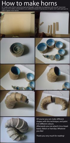 How to make horns from cardboard and hot glue.
