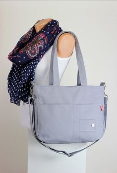 Gray Bag Washable Daily Use Handmade Double long strap Two Big Pocket Adjustable Removable strap Cross body hang Purse Canvas Bag Diaper Bag (37.00 USD) by hippirhino