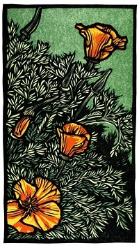 'Poppies' by Rik Olson (linocut) #print