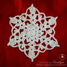 Crochet Snowflake Pattern on this page {My Favourtie Snowflake Crochet Patterns} I do love these easy crochet snowflakes, and wha. Free Crochet Snowflake Patterns, Christmas Crochet Patterns, Crochet Snowflakes, Doily Patterns, Holiday Crochet, Craft Patterns, Dress Patterns, Crochet Christmas Ornaments, Snowflake Ornaments