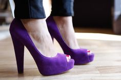 Purple Peep-Toe Heels.