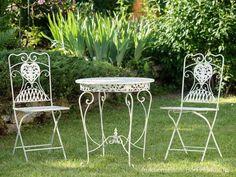 Salon DE Jardin 1 Table ET 2 Chaises FER Forgé Style Antique Blanc CRÈ | eBay