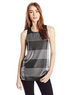 Three Dots Women's Metallic Bold Stripe Tank Top