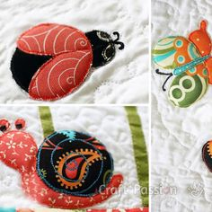 Ladybug, Butterfly and Snail Applique Patterns - Use the iron-on fusible applique quilt technique to add these individual insect quilt designs upon this beautiful bed quilt