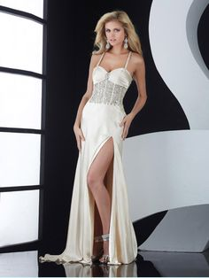 Sheath/Column Spaghetti Straps Elastic Woven Satin Ivory Long Prom Dresses/Evening Dress With Beading #BUSA0247716