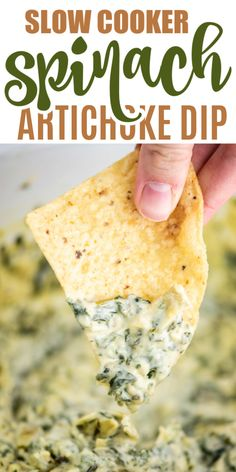 Slow Cooker Spinach Artichoke Dip Slow Cooker Spinach Artichoke Dip This Slow Cooker Spinach Artichoke Dip is the best crock pot appetizer! Make it ahead of time with just a few minutes of prep work. You can't go wrong with this delicious dip recipe! Spinach Dip Crockpot, Spinach Dip Bites Recipe, Spinach Dip Applebees, Best Spinach Artichoke Dip, Canned Artichoke Recipes, Slow Cooker Recipes, Cooking Recipes, Slow Cooker Dips, Crock Pot Dips