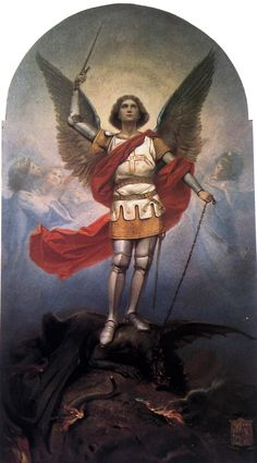 EXORCISM WITH S.MICHAEL GET OUT SATAN! stop deceiving human creatures and pouring out to them the poison of eternal damnation: stop harming the Church, and put laces on his freedom. Begone, Satan, inventor and master of deceit, enemy of man's salvation. Saint Michael, St. Michael, Catholic Archangels, All Archangels, Catholic Art, Catholic Saints, Religious Images, Religious Art, Saint Gabriel