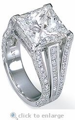 CZ Cubic Zirconia 7 Carat 11x11 Princess Cut Square Solitaire Engagement Ring 14K White Gold By Ziamond. The Picassa Ring features three rows of princess cut square & round cubic zirconia that accentuate this gorgeous ring. All Ziamond jewelry features the finest hand cut & hand polished cubic zirconia set in a high quality 14k gold, 18k gold or platinum mounting. $3995 #ziamond #cubiczirconia #cz #solitaire #ring #engagementring #pave #princesscut #square #14kgold #diamond #jewelry