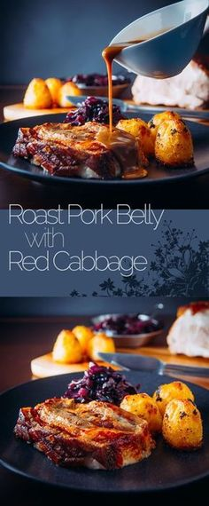 Crispy Roast Pork Belly With Red Cabbage - there is nothing as fine as piece of slow cooked roast pork belly with a crispy crackling, so I guess this recipe goes down as real damn fine! Pork Belly Recipes, Meat Recipes, Cooking Recipes, Game Recipes, Cabbage Recipes, Grilling Recipes, Dinner Recipes, Slow Roast Pork, Roast Pork Gravy