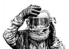 Astronauta, desenho de Lourenço Mutarelli, um dos quadrinistas que tem seus trabalhos expostos na mostra HQ BR 21 (Foto: Reprodução)