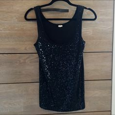 Closet Clear Out{J.Crew} Black Sequin Tank Top Black J.Crew tank top with sequined front. Excellent used condition with no loose sequins J. Crew Tops Tank Tops