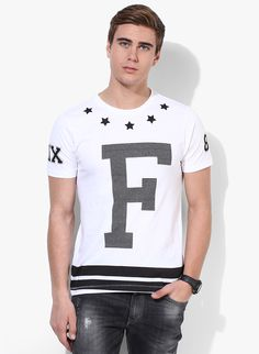 Buy Flying Machine White Printed Round Neck T-Shirt for Men Online India, Best Prices, Reviews   FL055MA39SVGINDFAS
