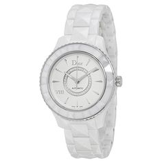 Christian Dior VIII Automatic White Ceramic and Stainless Steel Ladies Watch CD1245E3C002 >>> Click on the watch for additional details.