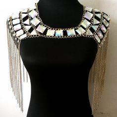 514ae67413 Chran AB Irridescent Crop Top Rave Bra Necklace Burning Man Festival  Costume Wear Body Lingerie EDC