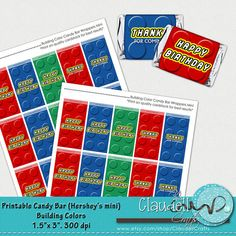 Building Colors Boys Inspired Printable Candy Bar Wrappers Mini - 300 DPI