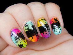 Paint It Black nail art by @chalkboardnails