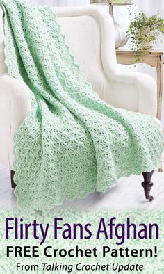 Flirty Fans Afghan Download from Talking Crochet newsletter. Click on the photo to access the free pattern. Sign up for this free newsletter here: AnniesNewsletters.com.