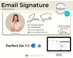 Email Signature V3, Editable in Canva, Custom Gmail Signature, Real Estate Marketing, Real Estate Template #OutlookSignature #CustomSignature #AppleMailSignature #Template #EmailTemplate #RealEstate #EmailSignature #Realtor #GmailSignature #EditableInCanva E Mail Template, Email Signature Templates, Real Estate Templates, Email Signatures, Marketing Materials, Ms Gs, Company Names, Real Estate Marketing, Signature Style