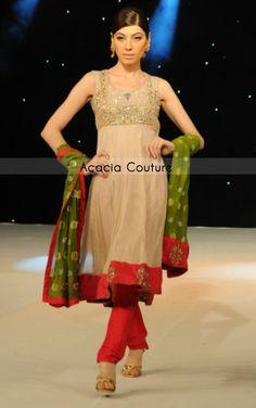 beige-red-semi-formal-wear-frock-green-dupatta-churidar-trouser.jpg 439×700 pixels
