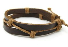 Jewelry bangle leather bracelet ropes bracelet men bracelet women bracelet woven bracelet made of brown leather and ropes woven SH-2523