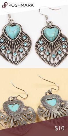 Spotted while shopping on Poshmark: Boho  Tibetan Silver Turquoise Heart Earings! #poshmark #fashion #shopping #style #Jewelry